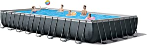 Intex 26373EH Ultra XTR Set Above Ground Pool, 32ft X 16ft X 52in, Gray