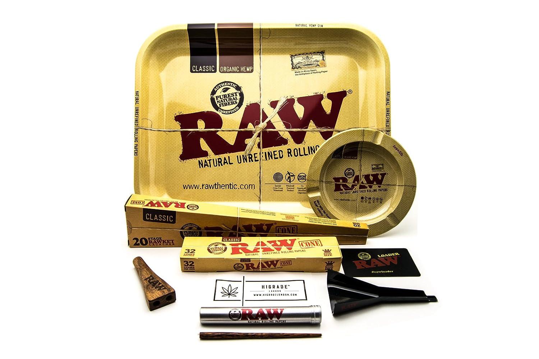 Raw Ultimate Cone Edition - Bandeja de liar grande, 52 conos preenrollados, soporte de cono de doble barril para carga de cono crudo, cenicero de arrastre, ...