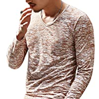 Rera Homme T Shirt Basic Manches Longues Blouse Top Casual Col V Pull Confortable