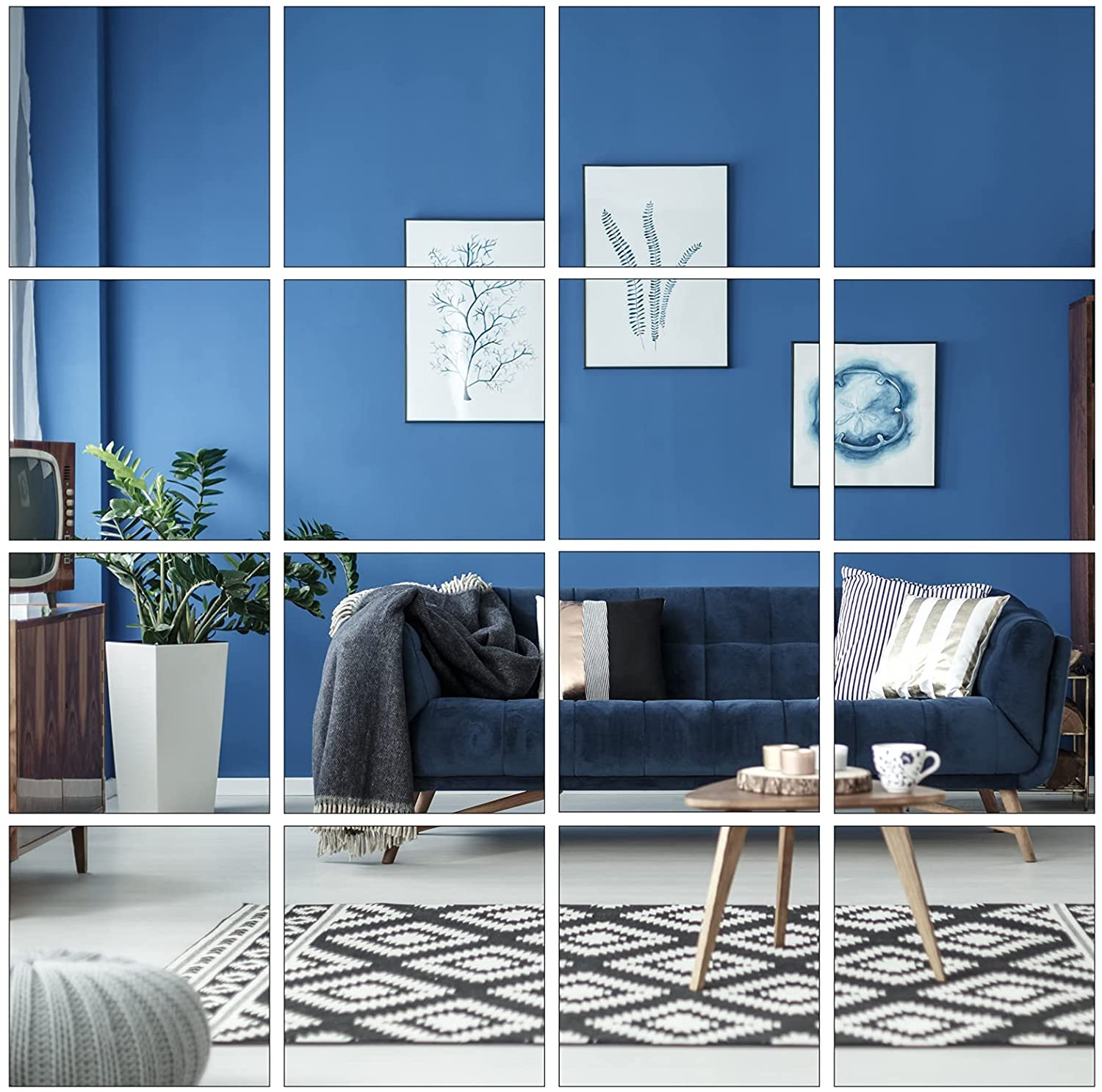 Aneco 16 Pack Removable Mirror Wall Sticker Self Adhesive Square Mirror DIY Wall Decorations for Home Room Decor, 4 x 4 inches