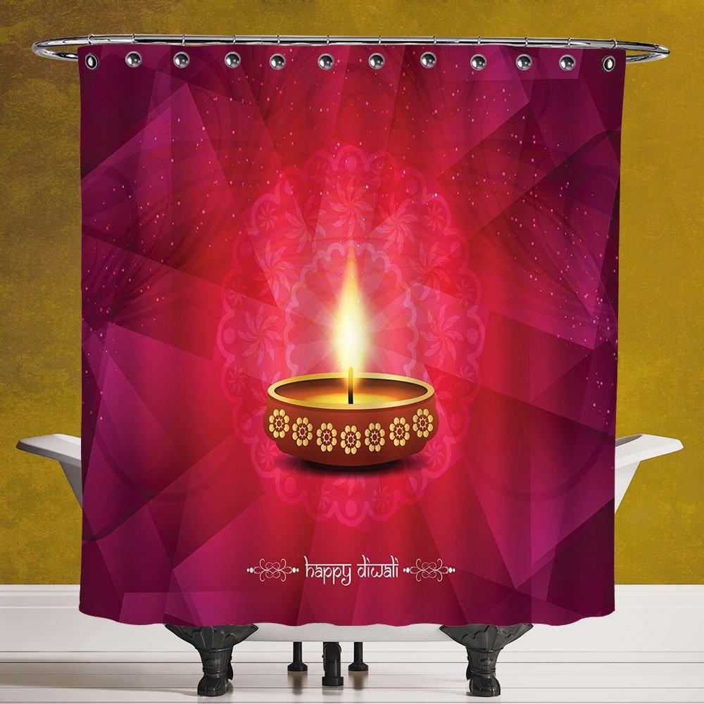 Decorative Shower Curtain 3.0 [Diwali,Paisley Background Image with Diwali Themed Religious Festive Celebration Tribal Print,Pink] Digital Print Polyester Fabric Bathroom Set