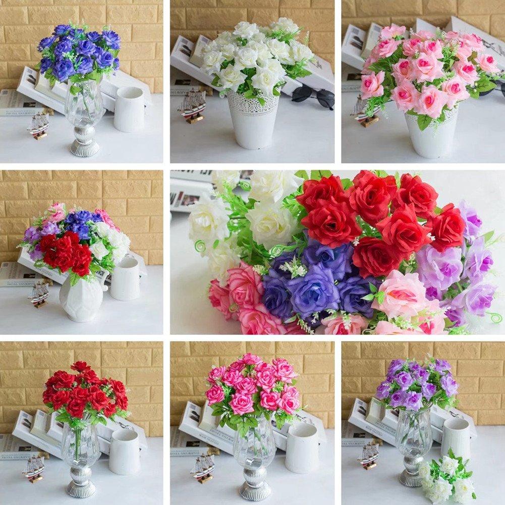 RYcoexs 1 Bouquet 7 Branches Rose Artificielle Faux Fleur Jardin Home Room Decor White