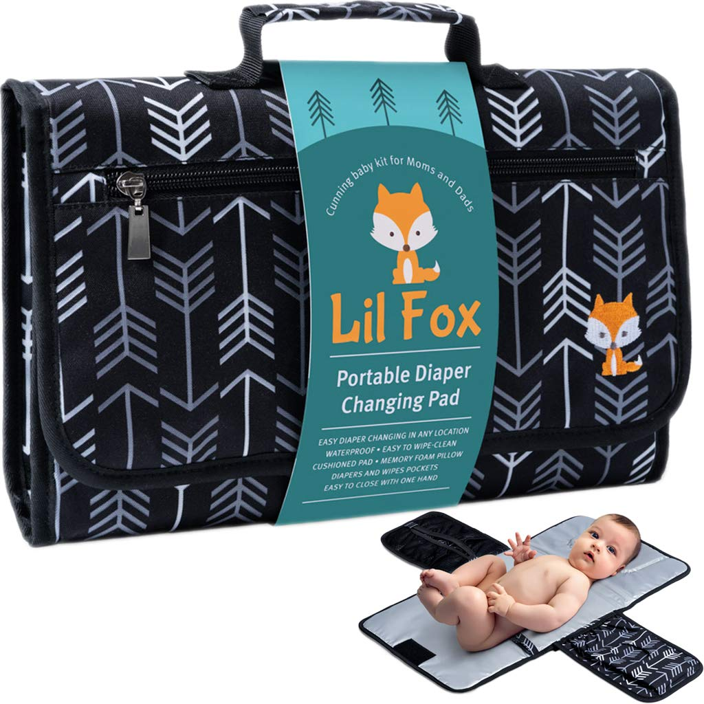 Portable Diaper Changing Pad by Lil Fox | Waterproof Portable Changing Pad for Moms, Dads and Babies | Use just One Hand; Memory Foam Baby Head Pillow; Pockets for Diapers, Wipes and Creams by Lil Fox