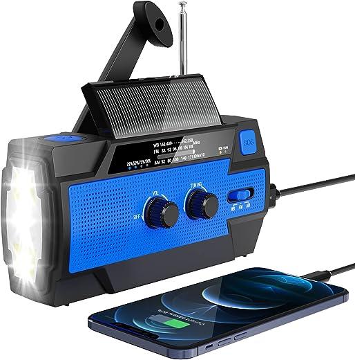 Emergency Radio, 2021 Upgraded Solar Hand Crank Portable Radio, Esky AM/FM/NOAA Weather Radios for Home and Emergency with 4000mAh Power Bank, Flashlight & Motion Sensor Reading Lamp, SOS Alarm