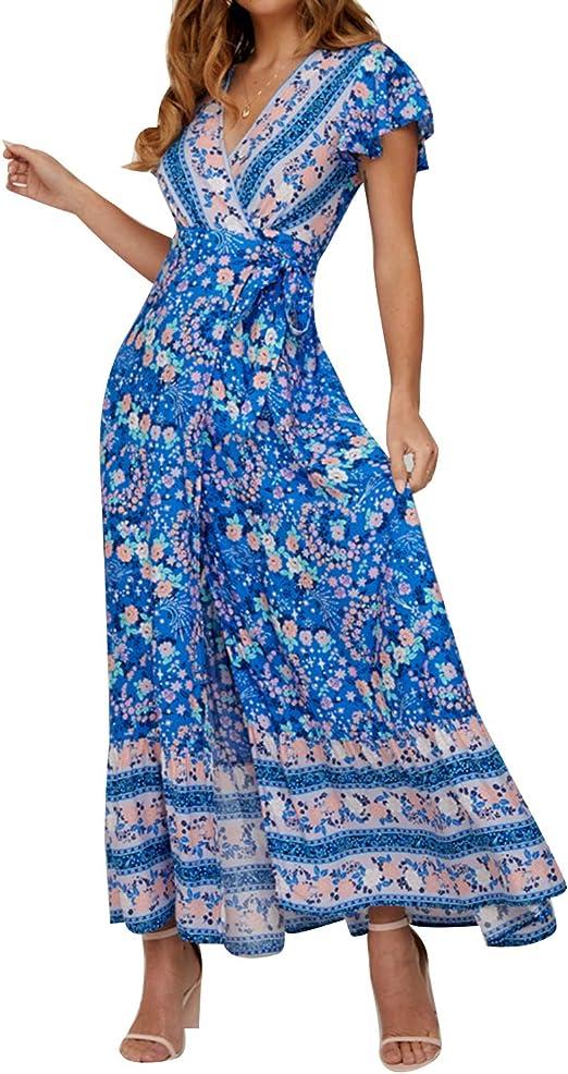 Frauen Kleid Kleid Sommer Rundhals Sommerkleid Stilvoll Urlaub Retro Party