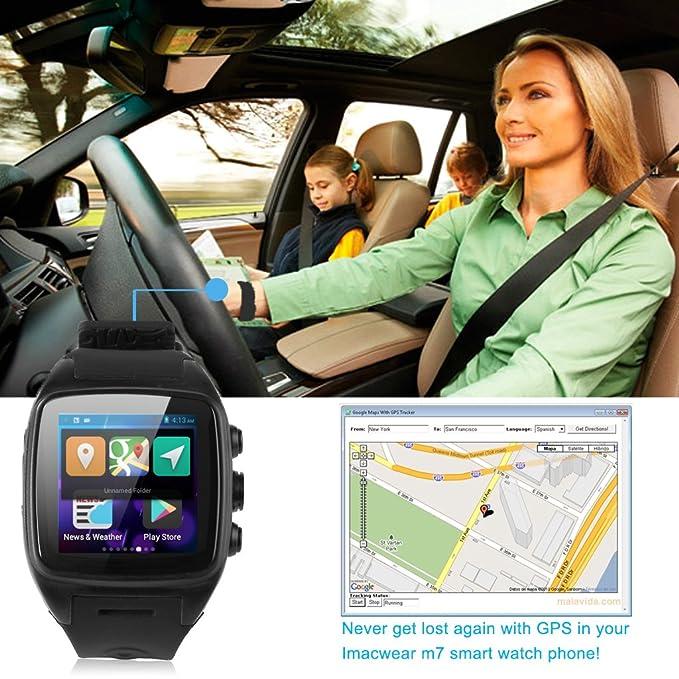 iMacwear M7 - Impermeable Smartwatch Smartphone Reloj Deportivo Android 3G (1.54 Pantalla Ips, SIM, Podometro, Pulsometro, GPS, Camara 5Mp), Negro