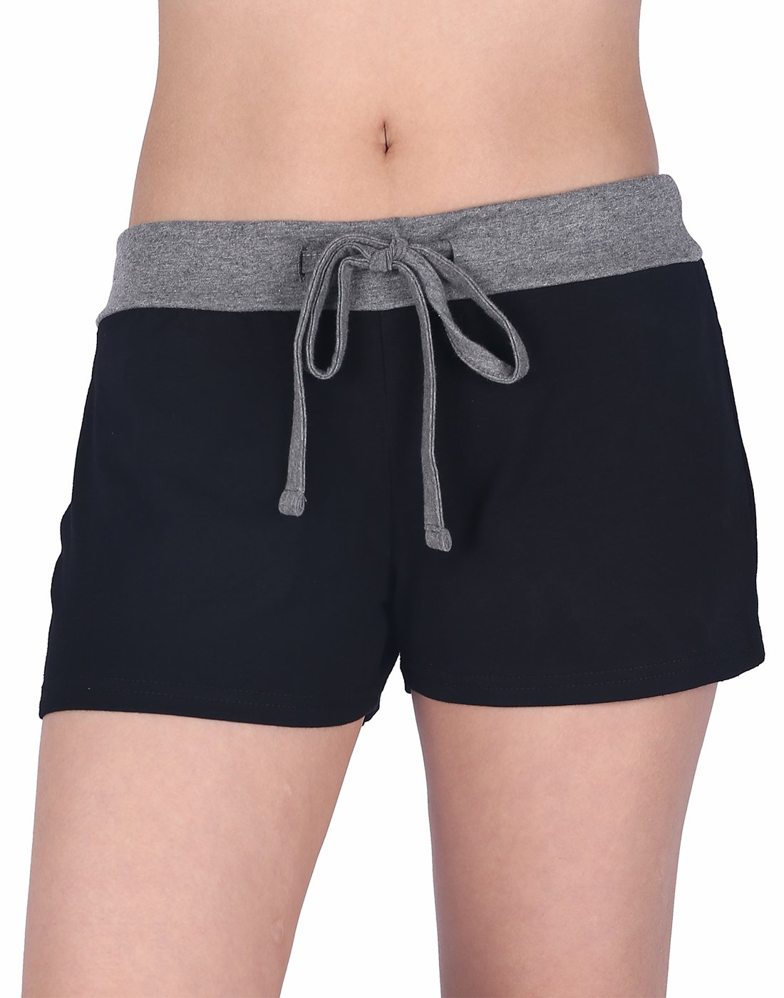 HDE Womens Juniors Pajama Shorts Sleep Wide Waistband Design Print Yoga Bottoms (Black w/Gray, Medium)