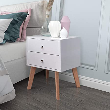 Easy Assembly and Sturdy, Bedside Table with 2 Fabric Storage Drawers for Bedroom Fine Vintage Nightstand End Table Wood Look Decent Furniture White