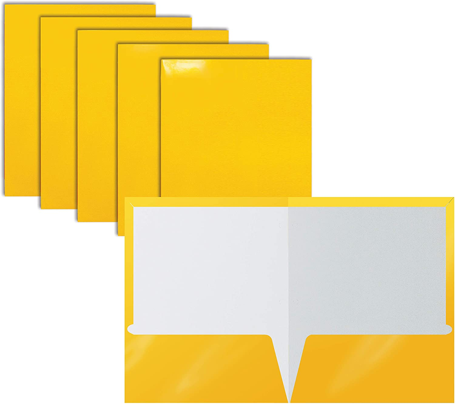 2 Pocket Glossy Laminated Yellow Paper Folders, Letter Size, 25-Pack, Yellow Paper Portfolios by Better Office Products, Box of 25 Yellow Folders