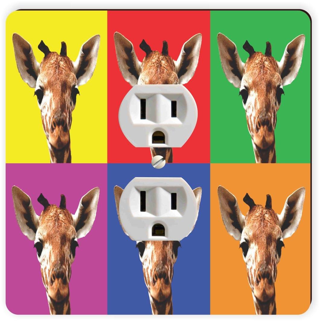 Rikki Knight Giraffe Color Block Single Outlet Plate