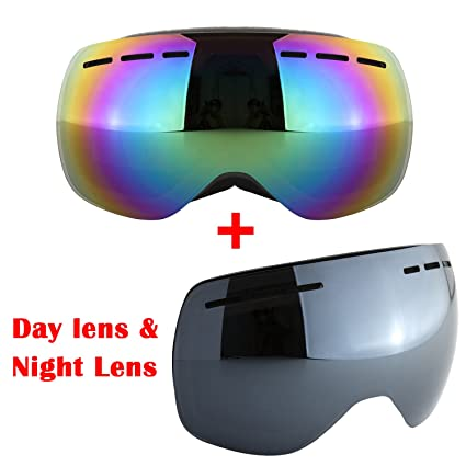 425d124fa1b Adult Skiing Goggles Anti Fog Double Lens Snow Board Unisex Snow Goggles ( black)