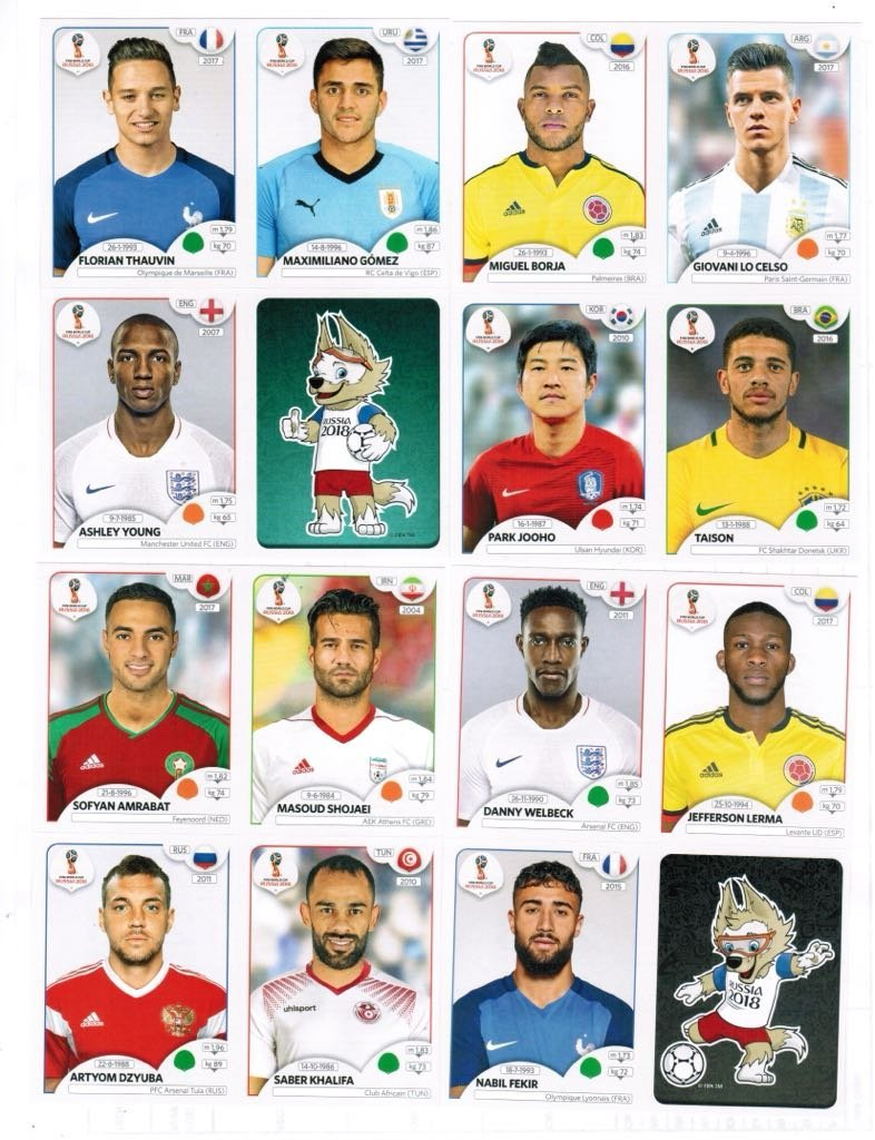 Panini World Cup 2018 Update Set 96 Stickers