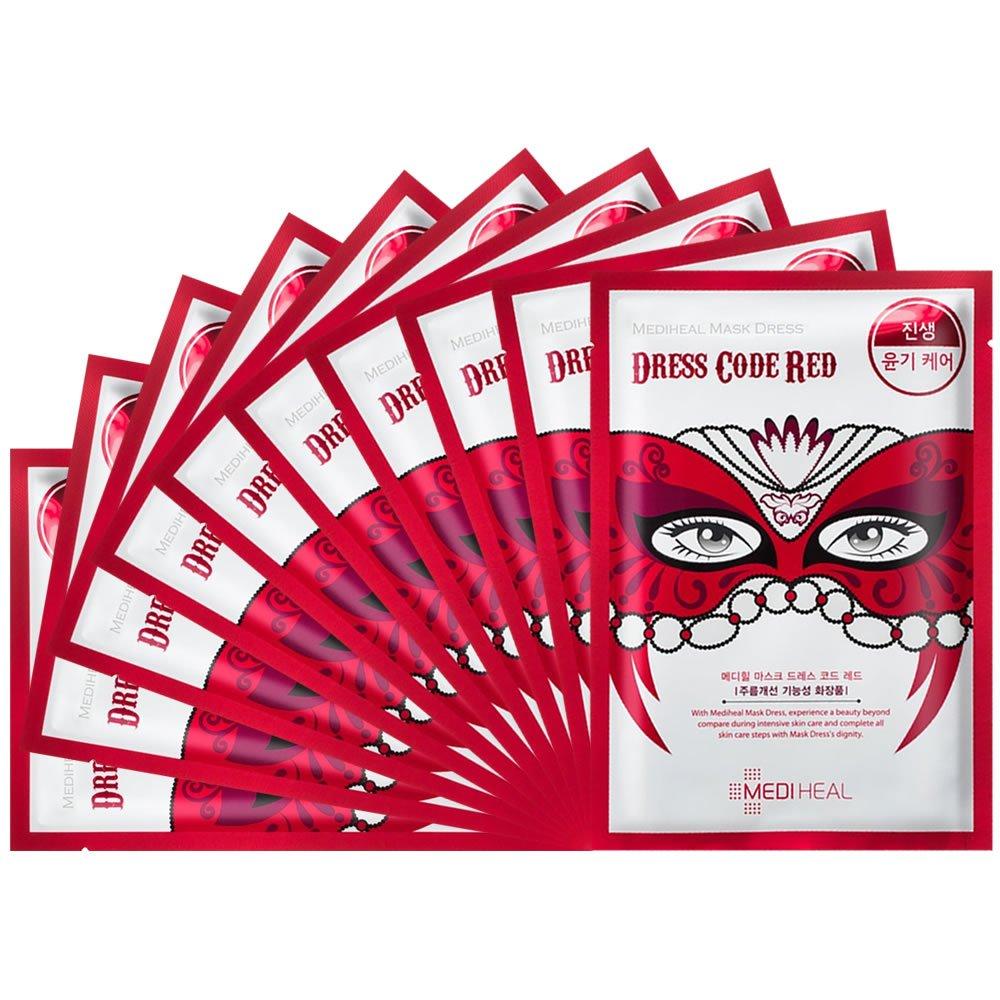 メディヒール ドレスコード マスク - レッド (ジンセン - グロスケア) 10pcs   B013X3Q8EW