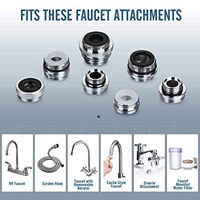 Buy Faucet Adapter Kit Kitchen Sink Brass Aerator Adapter Solid Male Female Faucet Adapter To Connect Garden Hose Water Filter Standard Hose Via Diverter Online In Indonesia B08brgmyqt