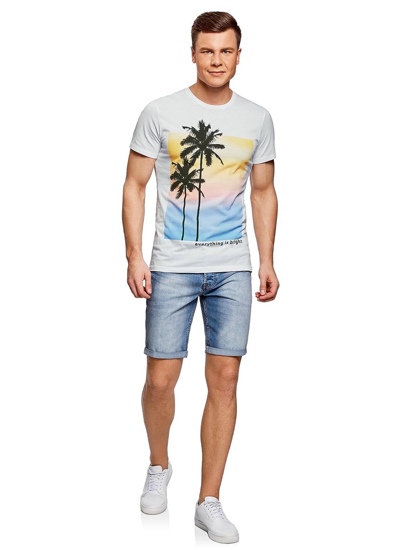 oodji Ultra Hombre Camiseta de Algodón con Estampado Playero: Amazon.es: Ropa y accesorios