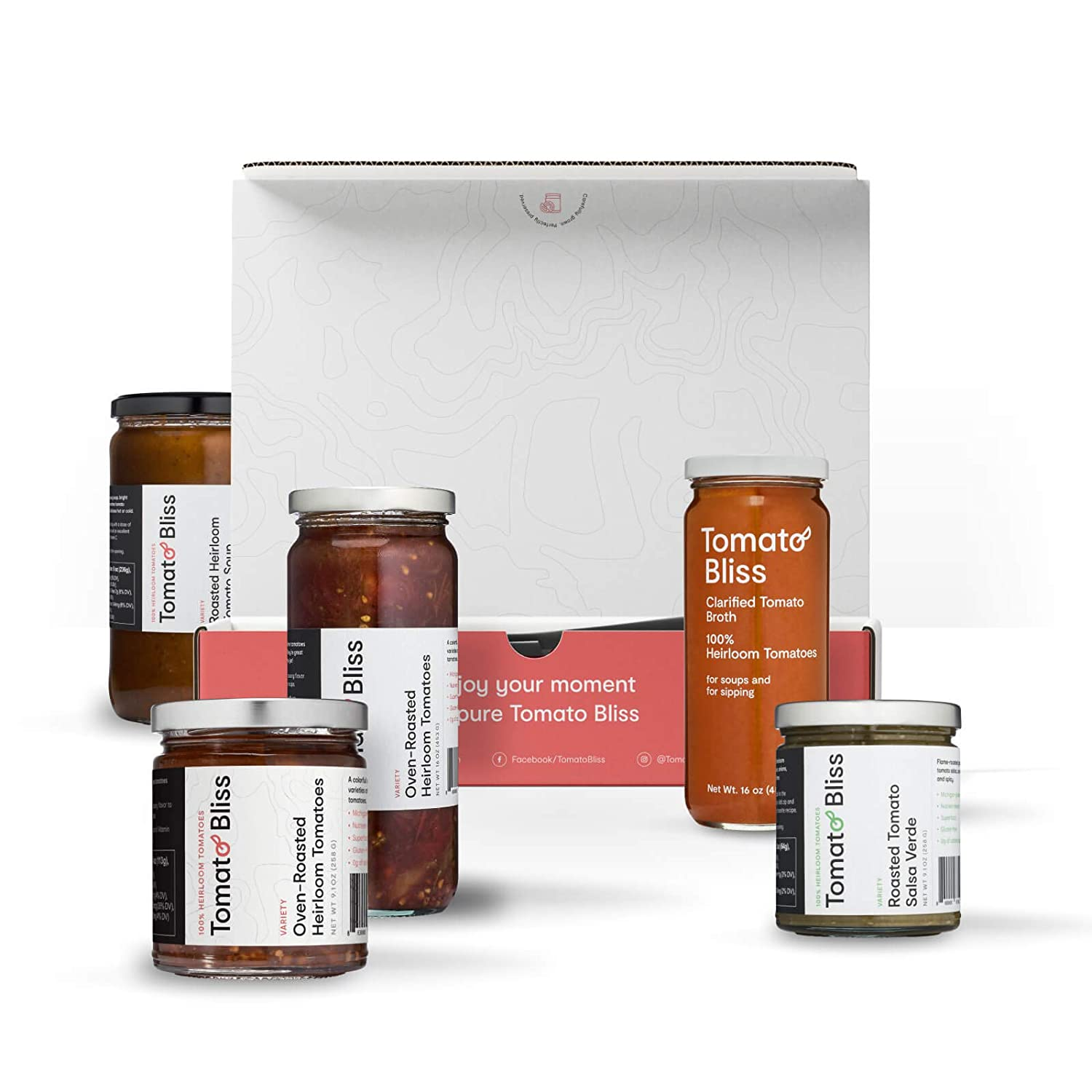 Gourmet Food Gift Box: Oven-Roasted Heirloom Tomatoes, Tomato Salsa Verde, Roasted Tomato Soup and Clarified Tomato Broth – Gifts for Foodies, Gifts for Chefs, Gifts for Cooks - Tomato Bliss.