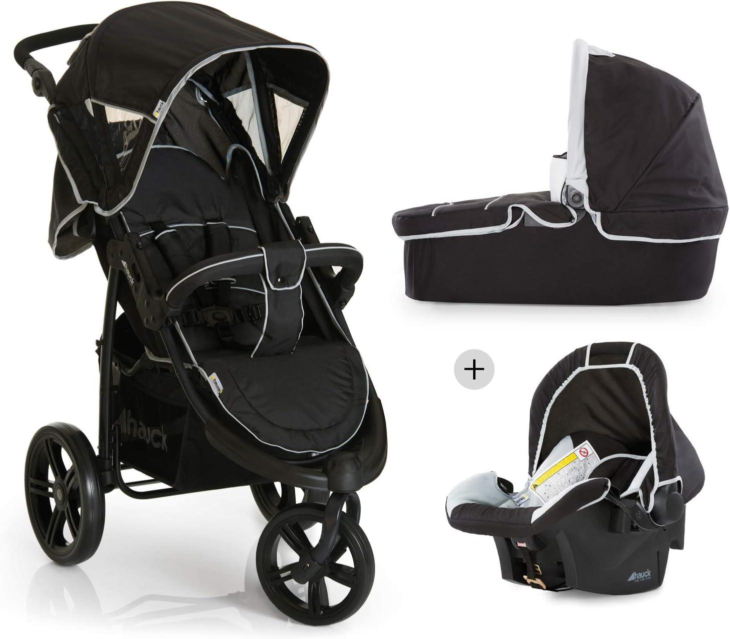 Hauck Viper SLX Trio Set - Carro deportivo 3 ruedas, silla de auto gr. 0, capazo con colchon, respaldo reclinable, ligero, 0 meses a 25 kg, plegable compacto, manillar ajustable en altura, negro gris