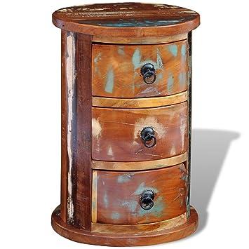 Anself Cómoda redonda de madera maciza reciclada con 3 cajones