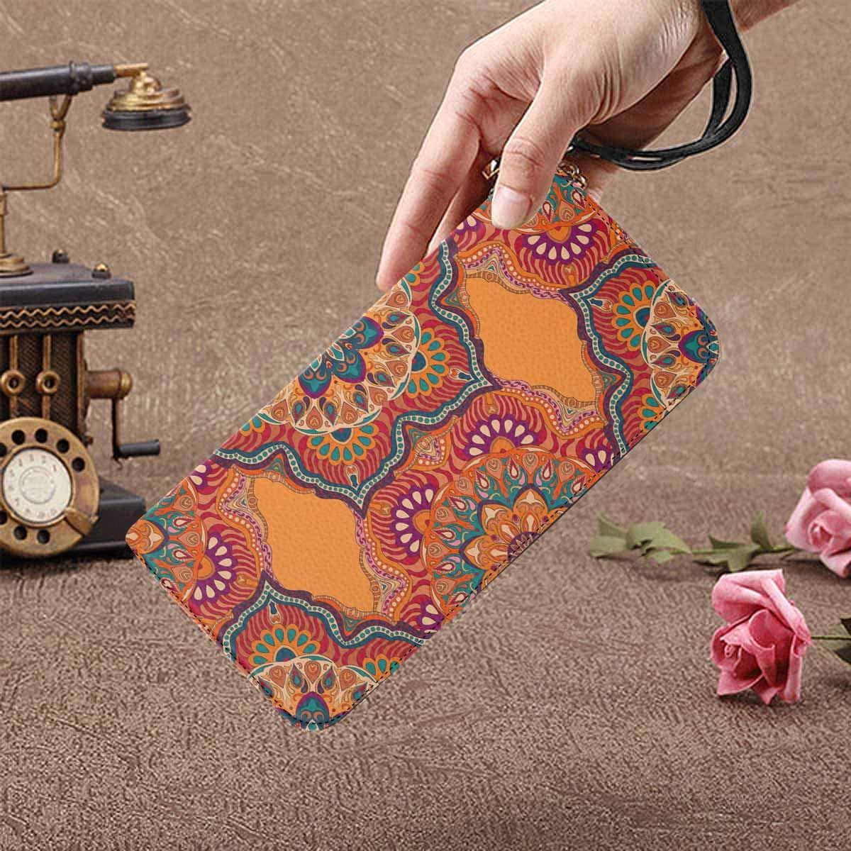InterestPrint Womens Orange Floral Pattern Clutch Purse Card Holder Organizer Ladies Purse