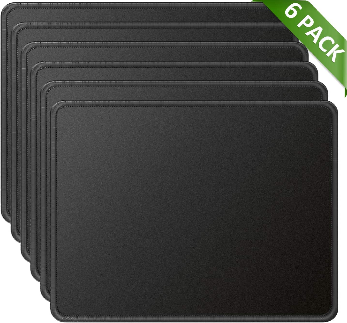 MROCO Mouse Pads Pack with Non-Slip Rubber Base, Premium-Textured and Waterproof Mousepads Bulk with Stitched Edges, Mouse Pad for Computers, Laptop, Office & Home, 11x8.5 inches, 3mm, 6 Pack, Black