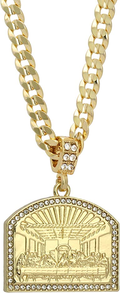 """14k Gold Plated Iced Out Big Last Supper Cz Hip Hop Pendant 30/"""" Cuban Link Chain"""