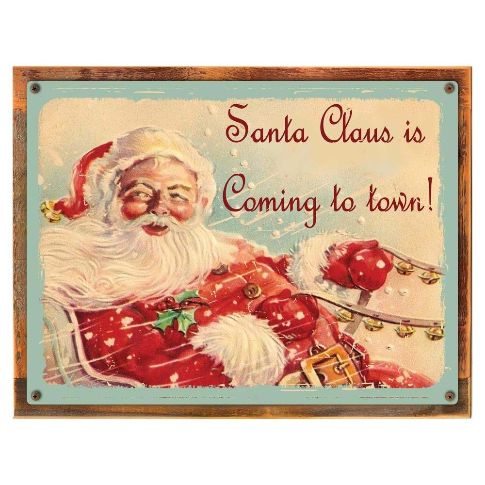 Amazon santa claus is coming to town metal sign jolly old amazon santa claus is coming to town metal sign jolly old saint nick sleigh bells vintage christmas decor home kitchen jeuxipadfo Choice Image