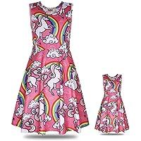 "ModaIOO Matching Dolls & Girls Dress,Unicorn Mermaid Butterfly Sleeveless Dresses for Kids,18"" Doll Clothes"