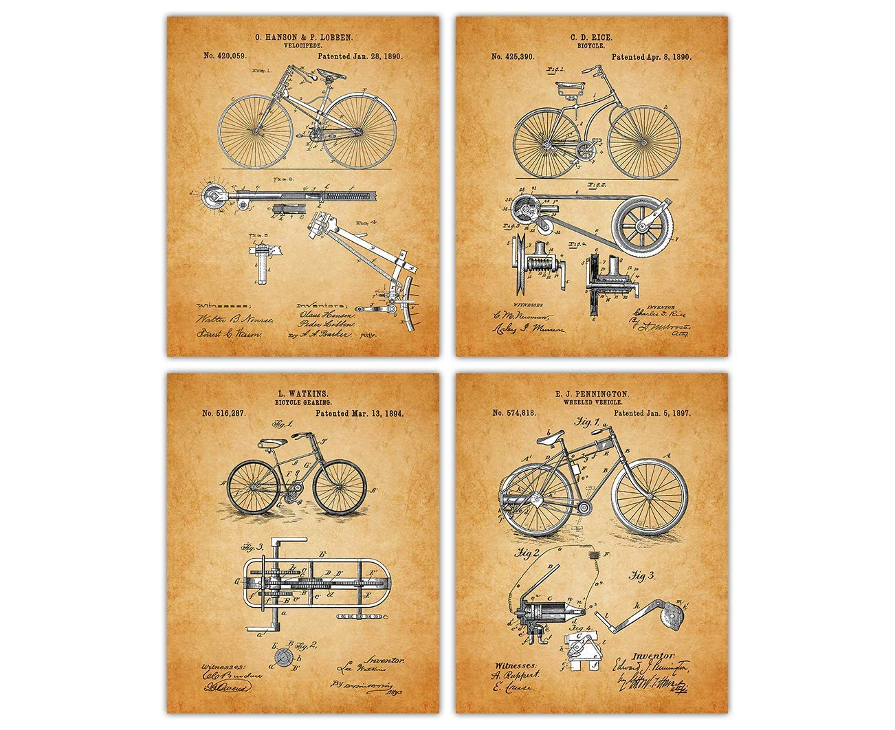 Bicycle Seat Patent Poster Art Print Vintage Bike Parts Repair Office Wall Decor