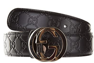 66bdeb859 Gucci women's genuine leather belt signature black UK size 38 370543 CWC1G  1000