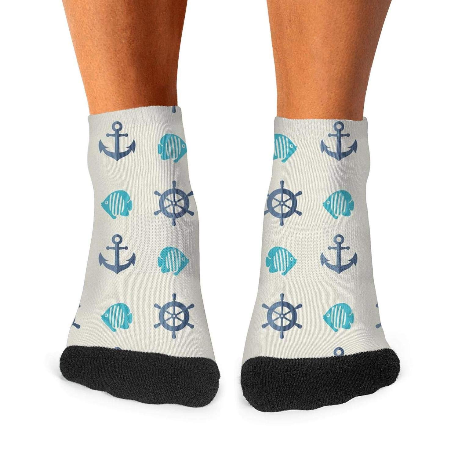 Floowyerion Mens Anchor and fish pattern Beige Novelty Sports Socks Crazy Funny Crew Tube Socks