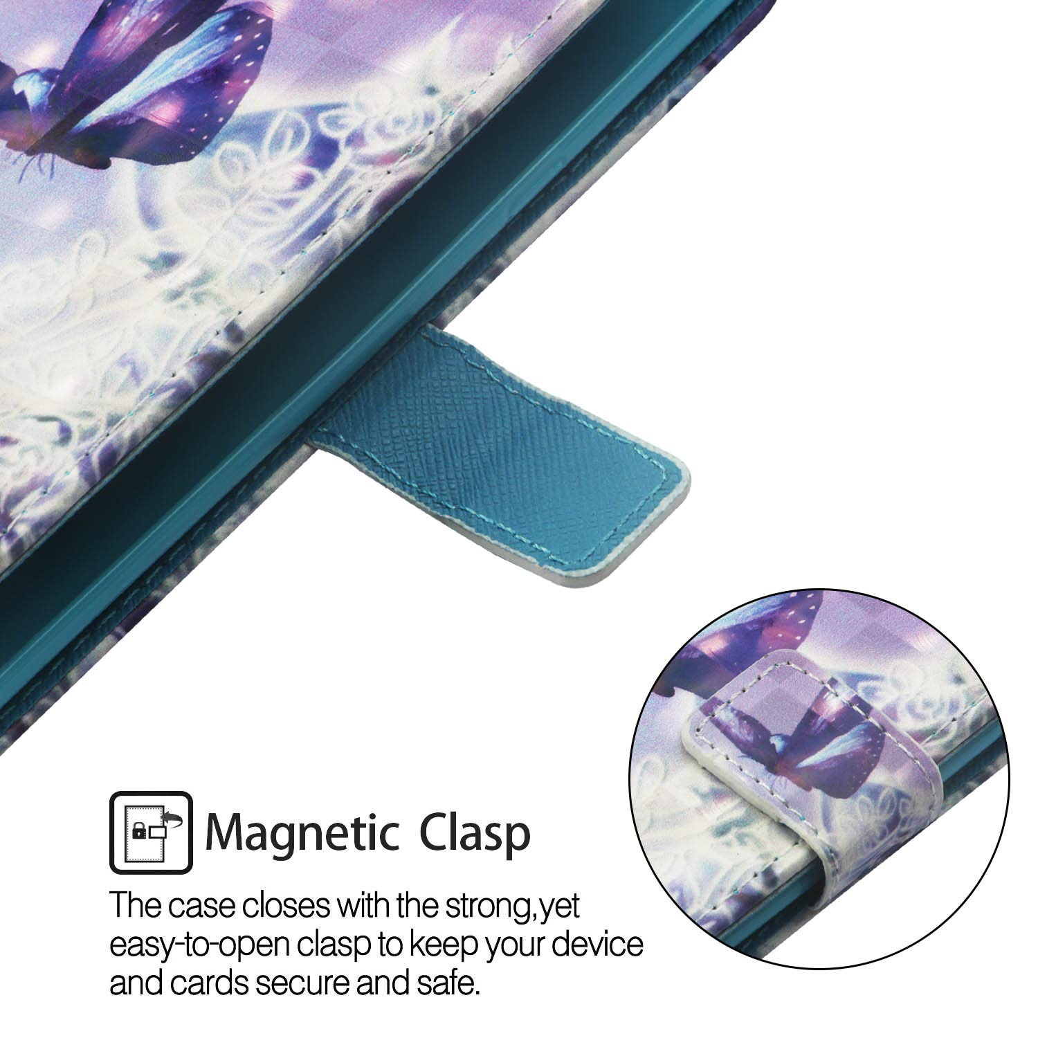 3D Wallet Case for iPhone XR 6.1 inch,Aoucase Slim Fancy Painted Durable Magnetic PU Leather Card Slot Soft inner Kickstand Strap Flip Case with Black Dual-use Pen Blue Flower
