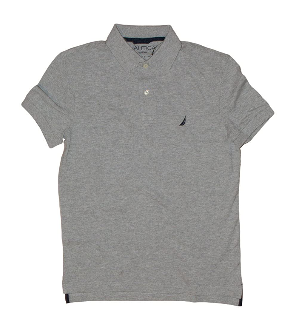Nautica Mens Slim Fit Logo Polo Pique Shirt, Heather Grey, Large ...