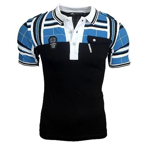 Polo T Shirt Herren Männer Poloshirt Jungs Gestreift Karriert A15008RN:  Amazon.de: Bekleidung