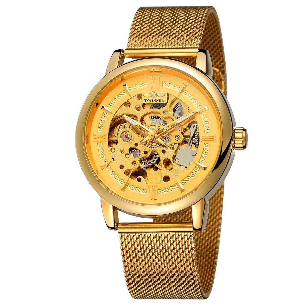 T-Winner Fashion Hollow Luxury Design Business Fashion Men's MechanicalQuartz Casual Simple Chronograph Watch