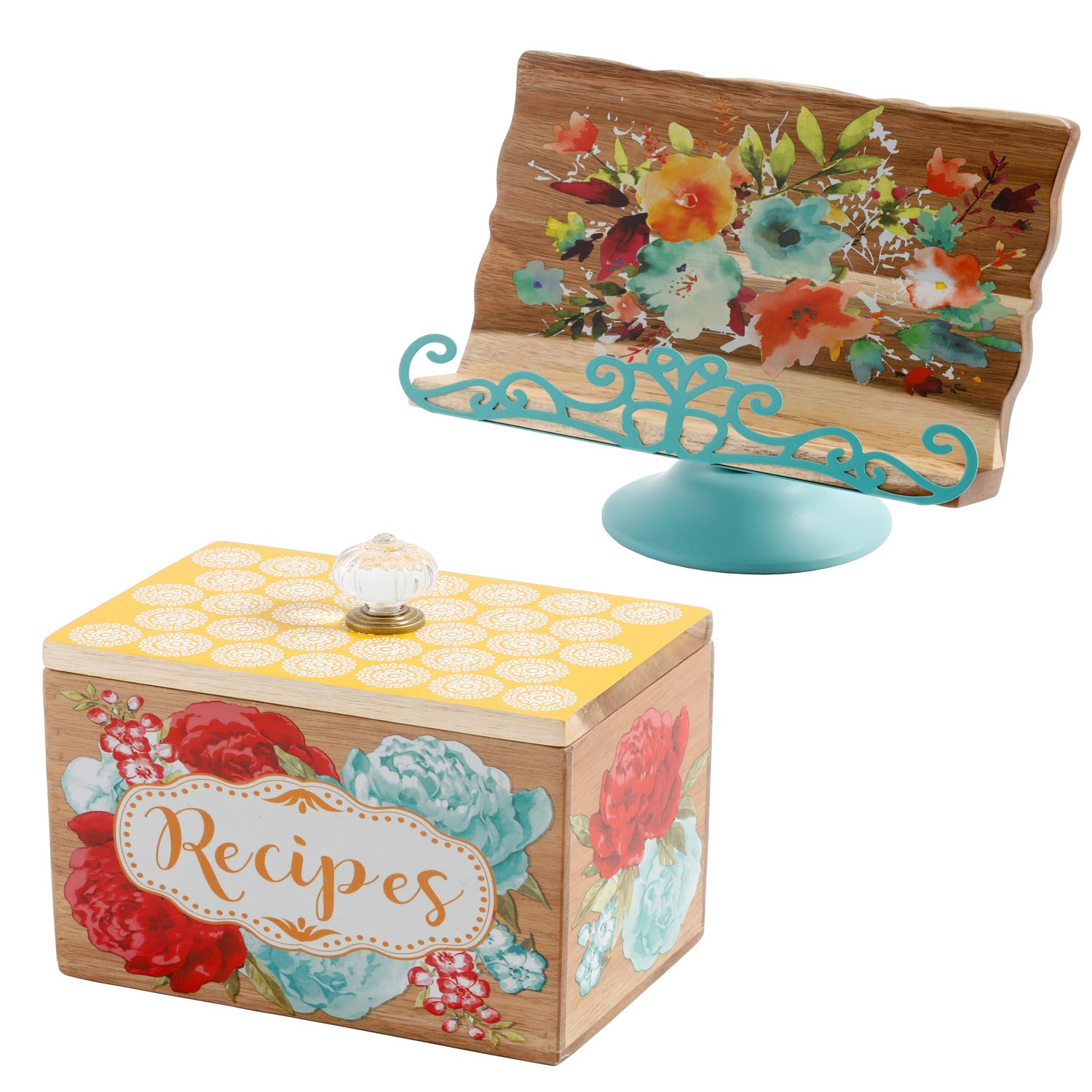 The Pioneer Woman Willow 10.4-Inch Cookbook Holder bundle with The Pioneer Woman 6.2-Inch Recipe Box by The Pioneer Woman
