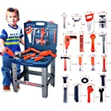 Kid's 69 Piece Pretend Play Portable or Stand-up Tool Kit and Workbench / Toys Game Play Kids Childrens Child Toddler Baby Cool Activity Educational Creative Fun Special Unique Devlopment Developmental Friends Boys Girls Present Latest Newest Learning Outdoor Indoor Room Home House Easy Coolest Hands Smart Motoric Classic Constructions Preschool Popular Large Little Small Big