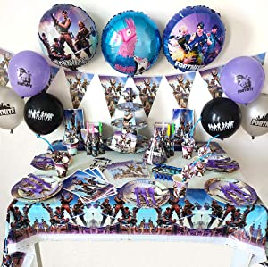 Fortnite Birthday Party Supplies for Game Fans, 145 pcs Game Party Decoration, Banner, Plates, Cups, Napkins, Tablecloth, Spoon, Forks,Knives Blowing Dragon Paper and Decorations Backdrop