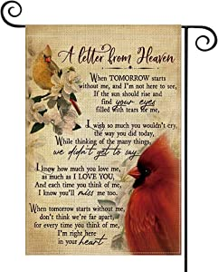 AVOIN colorlife Cardinalis Garden Flag Vertical Double Sided A Letter from Heaven, Northern Cardinal Daily Life in Memory Commemorate Yard Outdoor Decoration 12.5 x 18 Inch