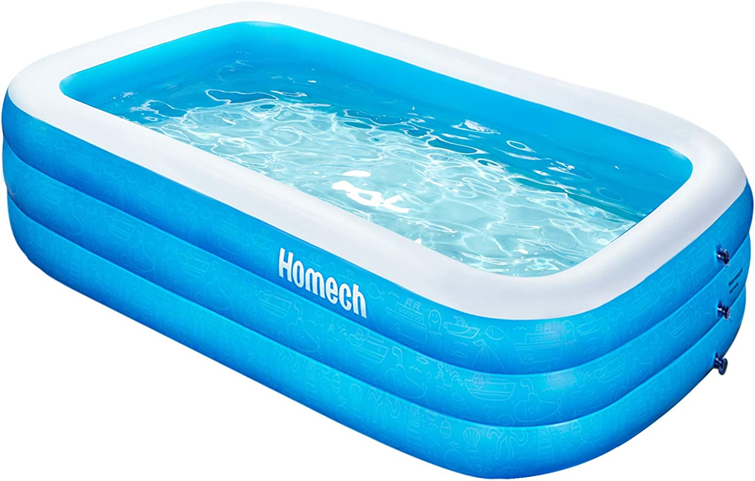 Summer Safety Non-Slip Outdoor Bathing Pool Jsdoin Inflatable Pool Foldable Kids Paddling Pool with Air Pump Outdoor Swimming Pool for Backyard Home Garden