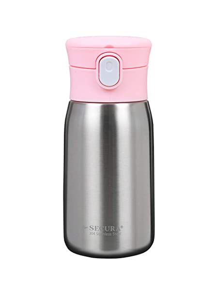 411b96bd839 Secura Vacuum Insulated Stainless Steel Straw Bottle with Handle,  350ML/12OZ, Pink