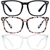 Blue Light Blocking Glasses - 3Pack Computer Game Glasses Square Eyeglasses Frame, Blue Light Blocker Glasses for Women Men,