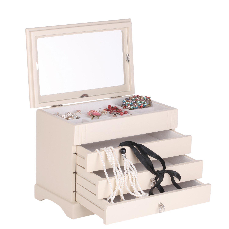 Rowling Large Wooden Jewelry Box Ring Organizer Gift Box Mg001 (White)