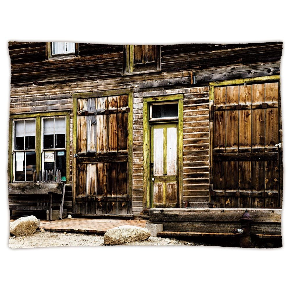 iPrint Super Soft Throw Blanket Custom Design Cozy Fleece Blanket,Rustic Decor,Old Wooden Plank House with Antique Door and Windows with Stones on Rocky Street,Brown,Perfect for Couch Sofa or Bed