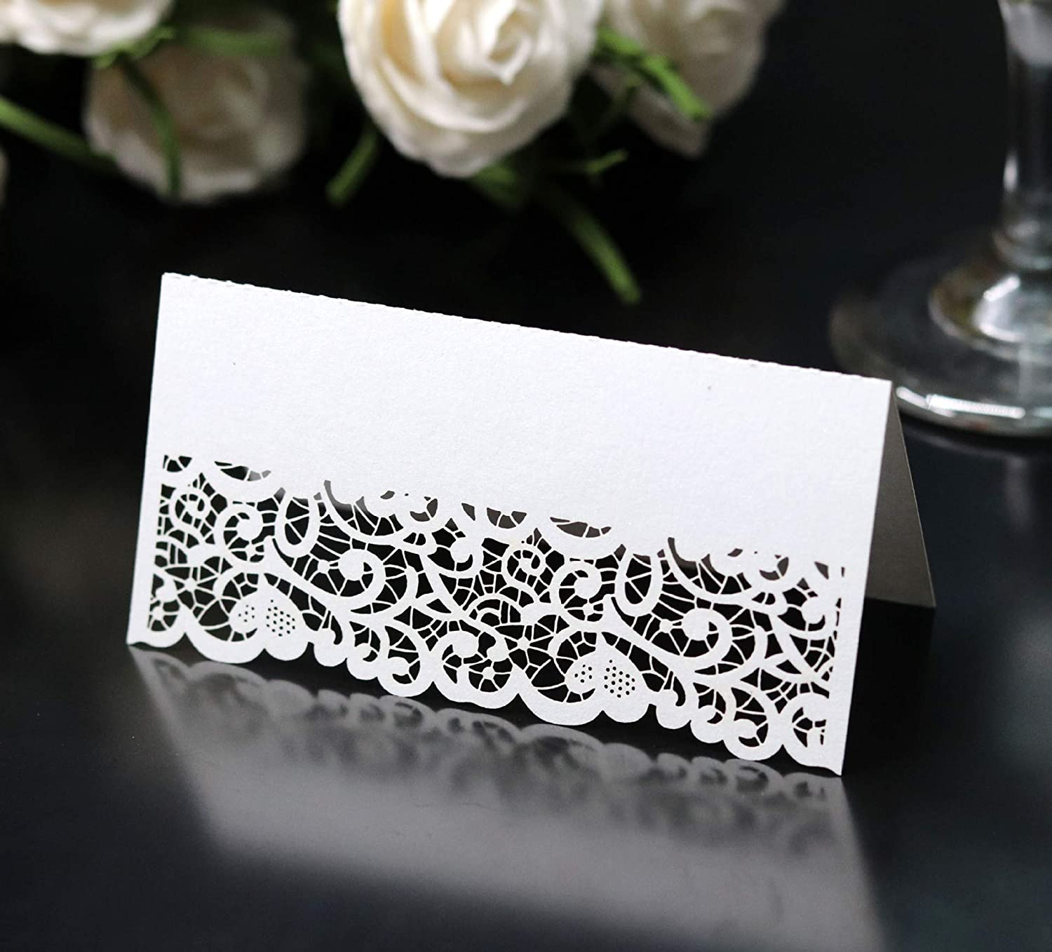 B07SKQPGNH Cozy Villa 25 Pack Table Tent Cards 3.9\'\' x 3.9\'\' White Place Name Cards with Laser Cut Border for Party and Event 71ugyt97zgL