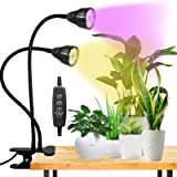 LED Grow Light for Indoor Plant,360° Gooseneck Dual Head Clip-on Plant Lights for Seedlings Succulents Micro-Greens…