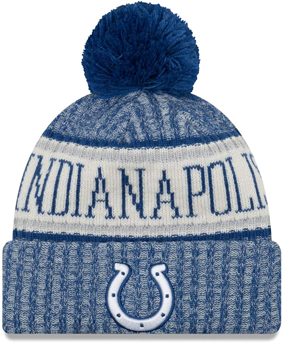 New Era NFL Beanie Indianapolis Colts On-Field Sport Knit Hat with Pom Blue Cap