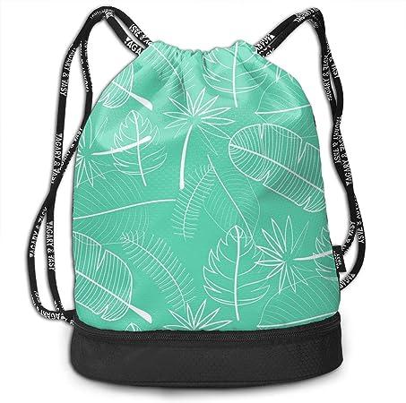 Mochila con cordón Bolsa de cuerda de camping de compra de viaje Rope Bag verde