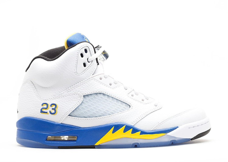 brand new 20da8 1e815 Amazon.com   Jordan Air 5 Retro Men s Basketball Shoes White Varsity Royal- Black 136027-189   Basketball