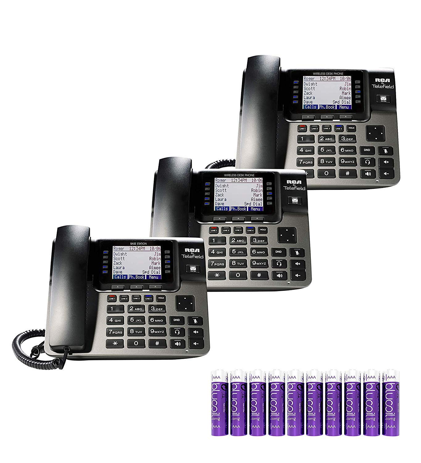 RCA U1000 Unison Base Station - 4 Line Phone Systems for Small Business with Digital Receptionist Bundled with RCA U1100 Wireless Deskphones (2-Pack) and 10 Blucoil AAA Batteries by blucoil