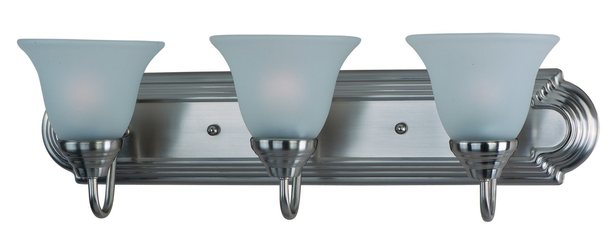 Maxim 8013FTSN Essentials 3-Light Bath Vanity, Satin Nickel Finish, Frosted Glass, MB Incandescent Incandescent Bulb , 60W Max., Dry Safety Rating, Standard Dimmable, Metal Shade Material, Rated Lumens